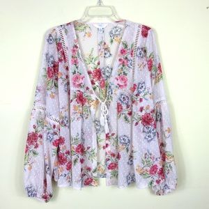 TIME & TRU | Floral Jacket Top with Cross Stitch